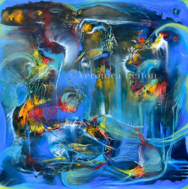 """Marine Abyss - Oil on canvas / 39.4"""" x 39.4"""" x 2"""" / 2015"""