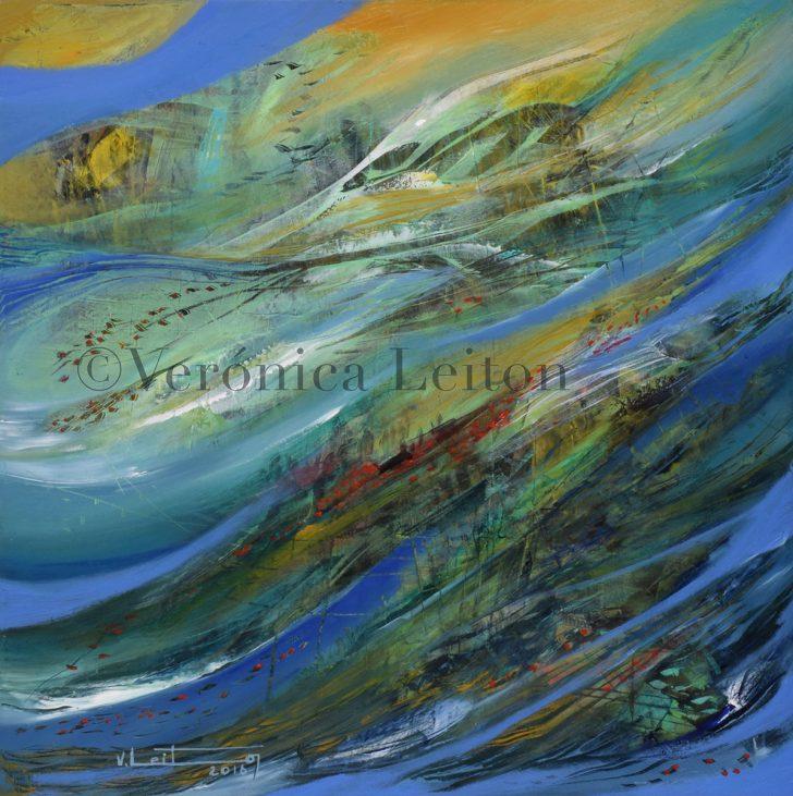 "Reef Algae - Oil on canvas / 15.7"" x 15.7"" x 1"" / 2016"