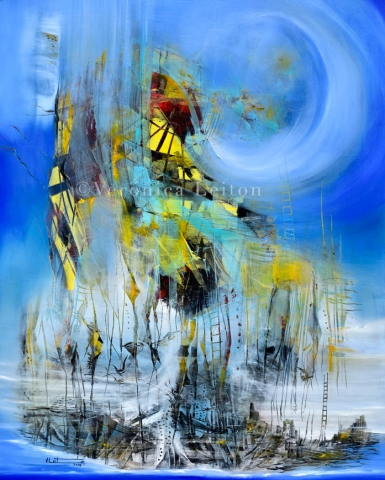 """Doorstep´s Bird - Oil on canvas / 39.4"""" x 31.5"""" x 2"""" / 2018"""
