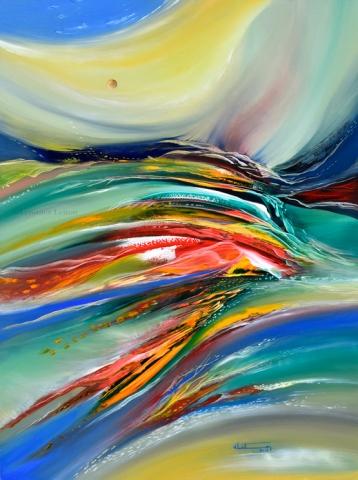 """Aurora´s Mantle - Oil on canvas / 23.6"""" x 23.6"""" x 2"""" / 2018"""
