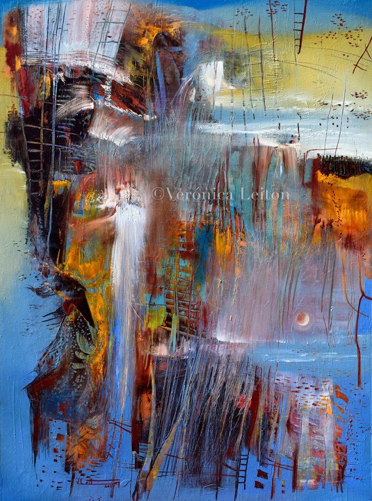 "The moon walks through the Lake - Oil on canvas / 31.5"" x 23.6"" x 2"" / 2017"