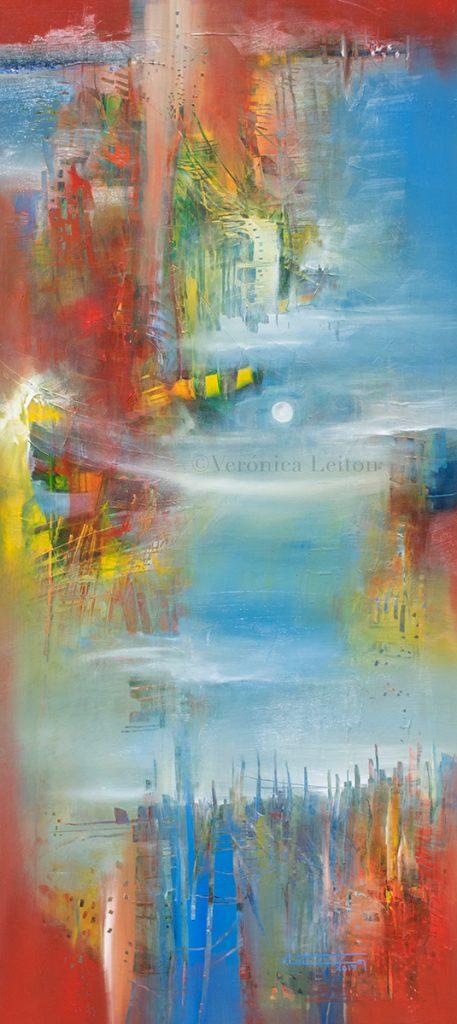 "Spring Moon - Oil on canvas / 39.4"" x 17.7"" x 2"" / 2017"