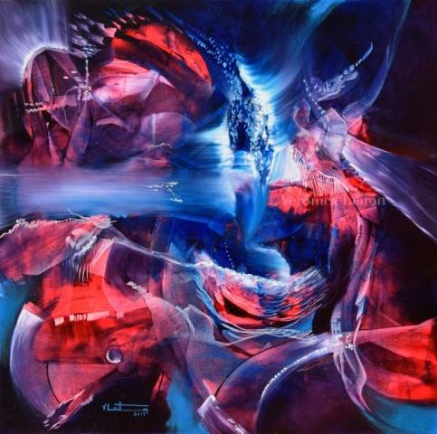 """Sailing a Crystal Sky - Oil on canvas / 23.6"""" x 23.6"""" x 2"""" / 2019"""