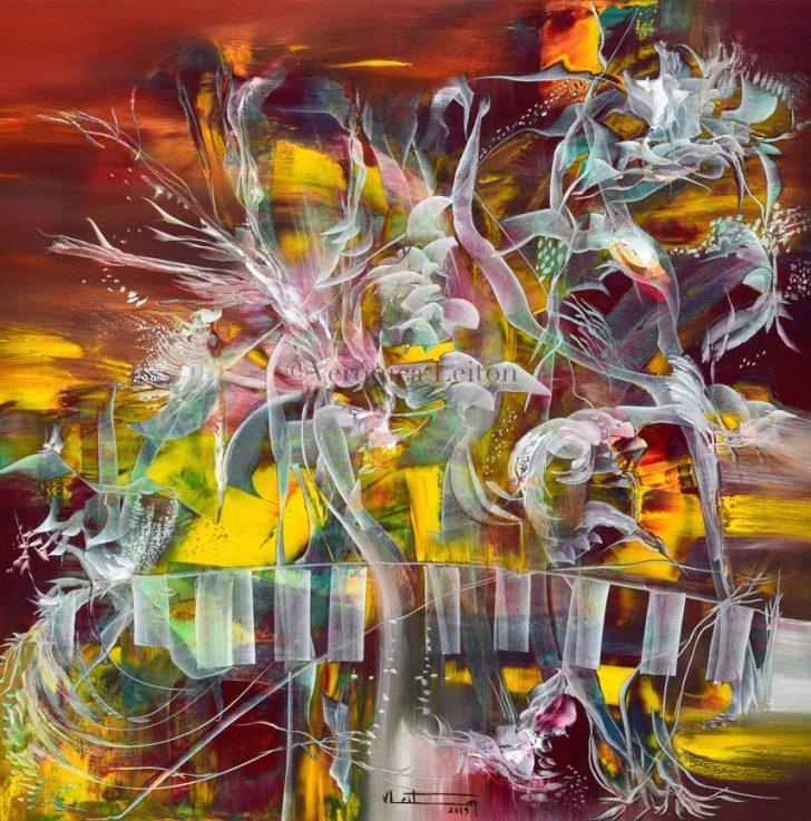 "Little Dreams Garden - Oil on canvas / 23.6"" x 23.6"" x 2"" / 2019"