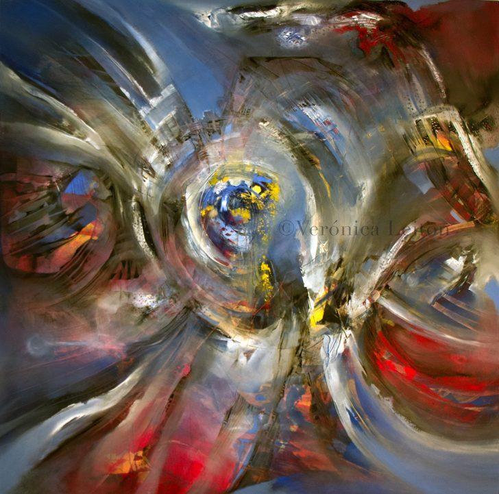 "Supernova - Oil on canvas / 39.4"" x 39.4"" x 2"" / 2016"