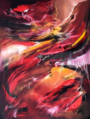 "Fire´s Whisper - Oil on canvas / 31.5"" x 23.6"" x 2"" / 2019"