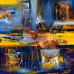 "Future City - Oil on canvas / 39.4"" x 39.4"" x 2"" / 2019"