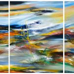 """Greenwod Colors (Triptych)- Oil on canvas / 31.5"""" x 70.9"""" x 2"""" / 2018"""