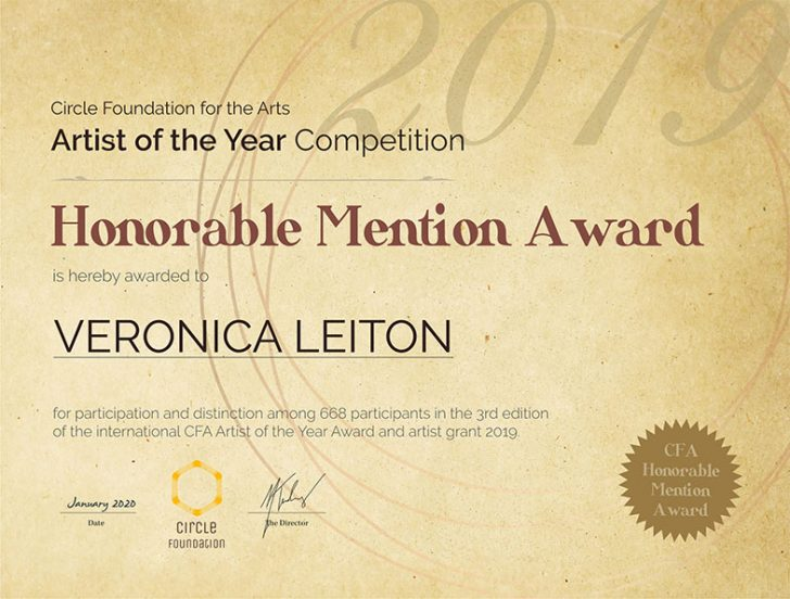 Honorable Mention at the 3rd Conquest Artist of the Year by the Circle Foundation of Arts. Lyon, France. January 2020
