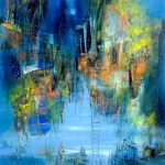 """Floating Cities - Oil on canvas / 31.5"""" x 23.6"""" x 2"""" / 2015"""