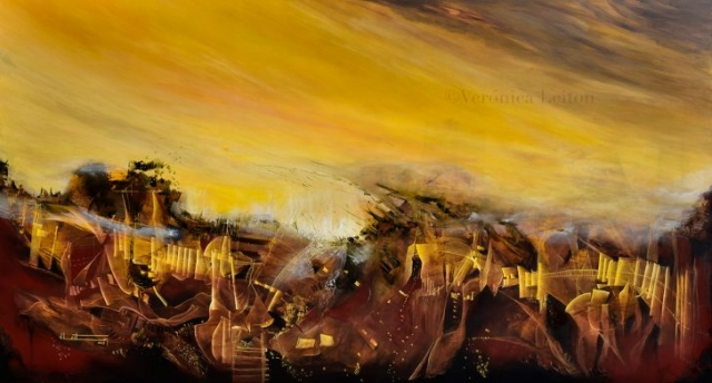 """At the Soul ́s Tunnels - Oil on canvas / 47.2"""" x 86.6"""" x 2"""" / 2013"""