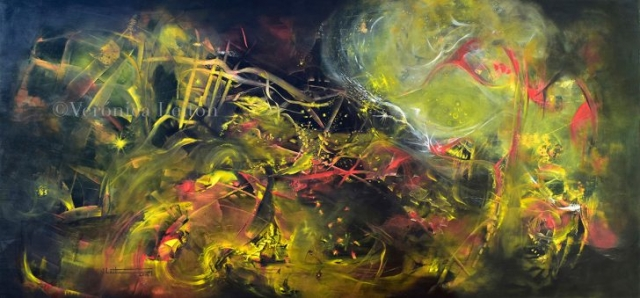 """Dance of the Imaginary - Oil on Canvas / 47.2"""" x 98.4"""" x 2.6"""" / 2014"""