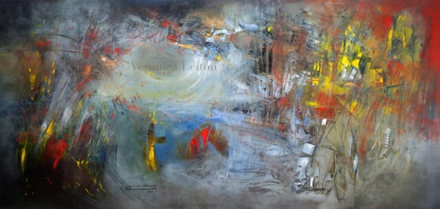 """Inner Outer Worlds - Oil on canvas / 47.2"""" x 98.4"""" x 2.6"""" / 2014"""