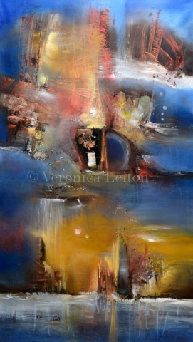 """Sideral Reflection - Oil on canvas / 55.1"""" x 31.5"""" x 2"""" / 2014"""