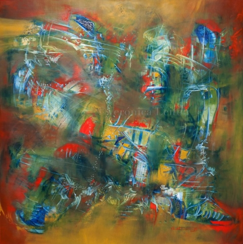 """Ancestral Signs - Oil on canvas / 47.2"""" x 47.2"""" x 2"""" / 2014"""