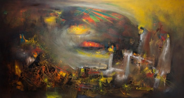 "A World Inside of a grain / Oil on canvas / 55.1"" x 90.6"" x 2.6"" / 2014"
